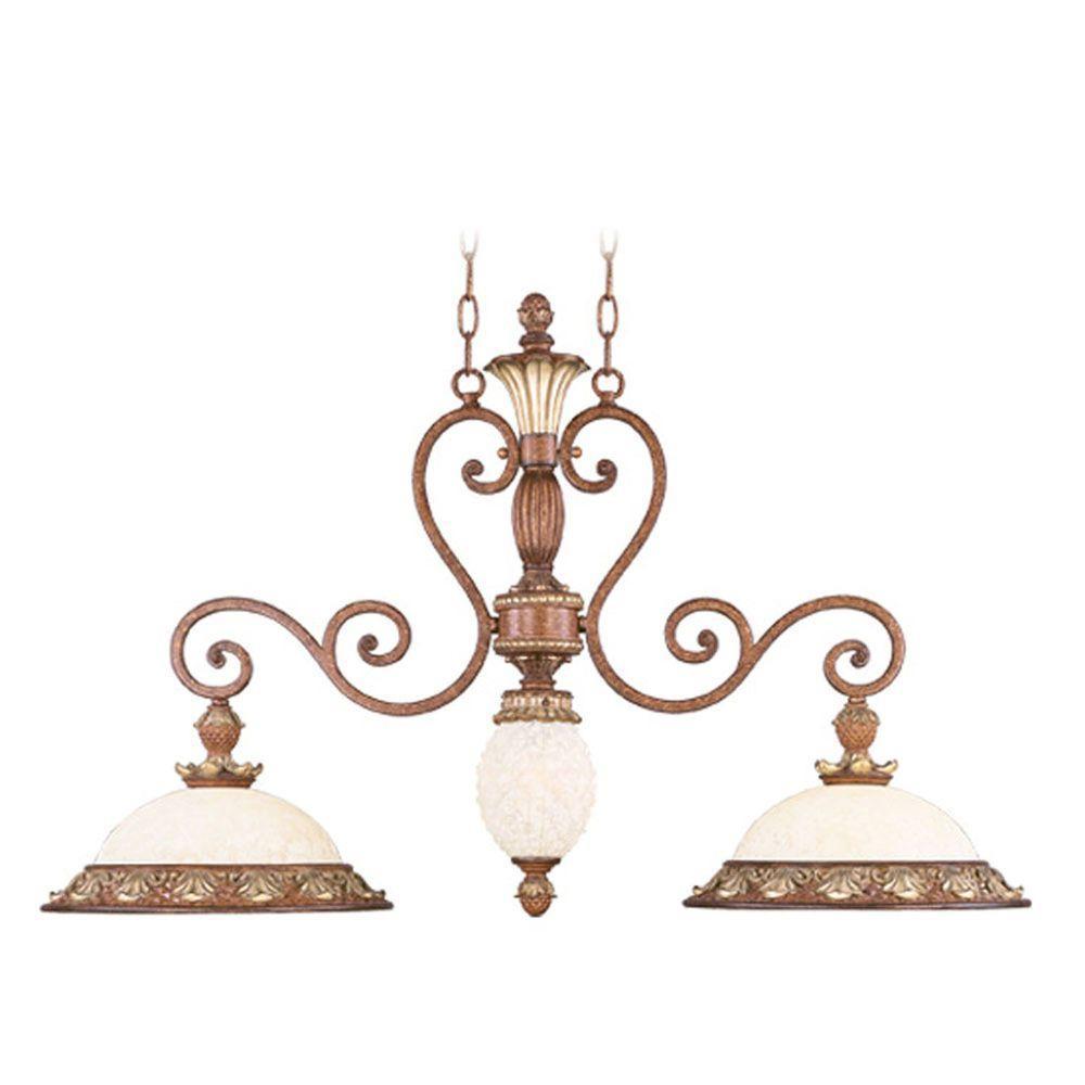 Savannah 3-Light Venetian Patina Incandescent Island Ceiling Pendant