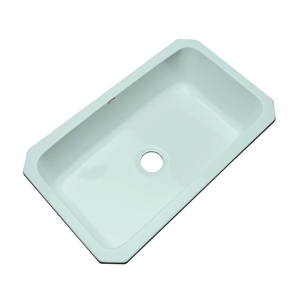 Manhattan Undermount Acrylic 33 In. Single Bowl Kitchen Sink In Seafoam  Green