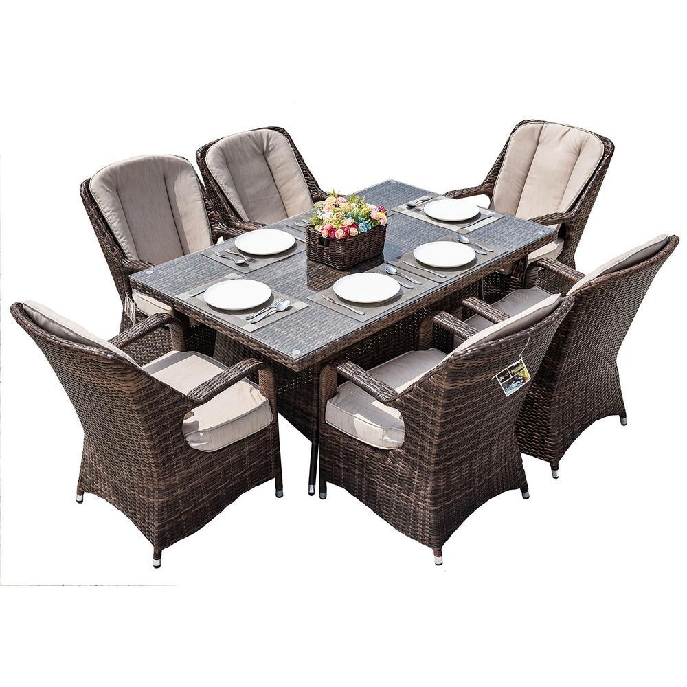 Ozark Brown 7-Piece Wicker Rectangular Outdoor Dining Set with Beige Cushion