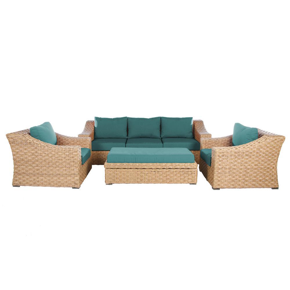 Elizabeth 6-Piece Deep Seating Wicker Patio Conversation Set with Spectrum Peacock Cushions