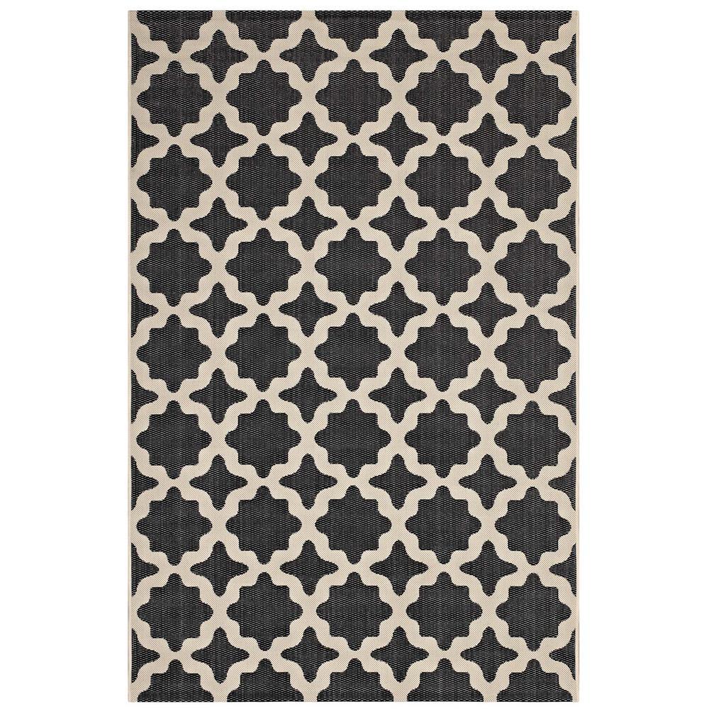 Cerelia Moroccan Trellis 8x10 Indoor and Outdoor Area Rug in Black and Beige