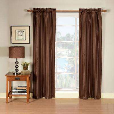 Herringbone 30 in. W x 84 in. L Polyester Window Panel in Chocolate