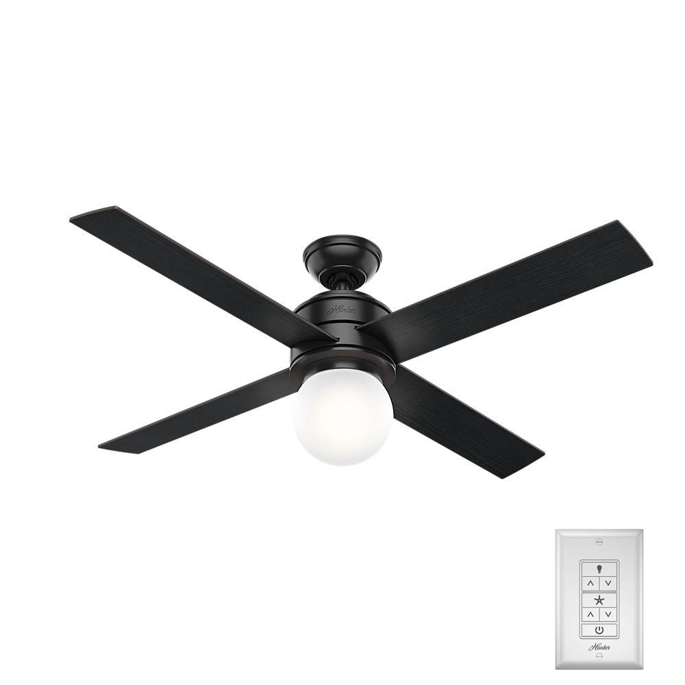 Hunter Chronicle 54 in. Indoor/Outdoor Matte Black Ceiling Fan with ... for Ceiling Fan Bottom View  104xkb