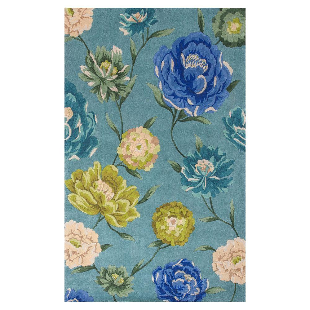 Kas Rugs Big Blooms Blue/Ivory 3 ft. 3 in. x 5 ft. 3 in. Area Rug