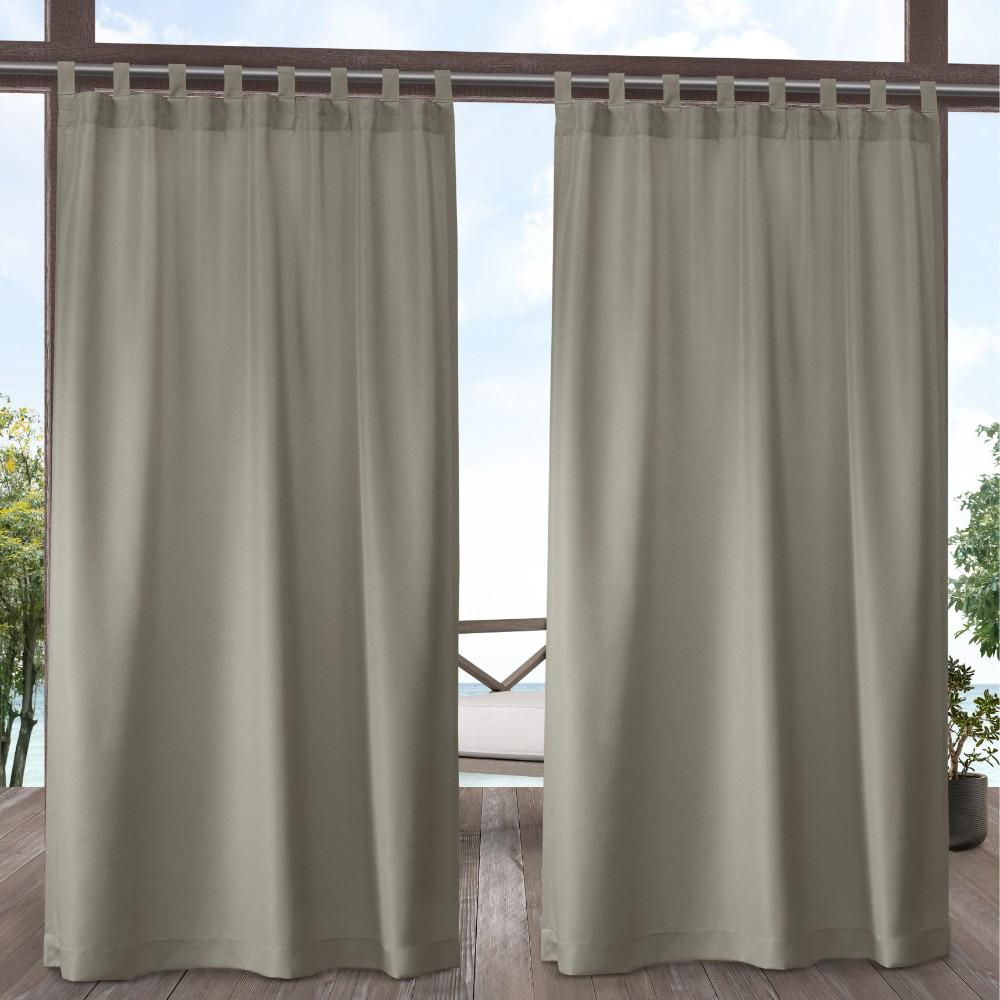 Exclusive Home Curtains Indoor Outdoor Solid 54 in. W x 108 in. L Tab Top Curtain Panel in Taupe (2 Panels)