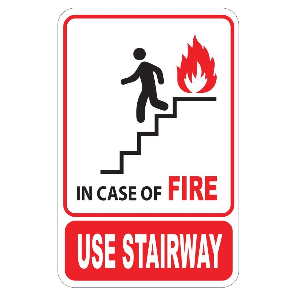 5 5 In X 8 5 In Plastic In Case Of Fire Use Stairway