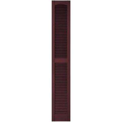 12 in. x 75 in. Louvered Vinyl Exterior Shutters Pair in #167 Bordeaux