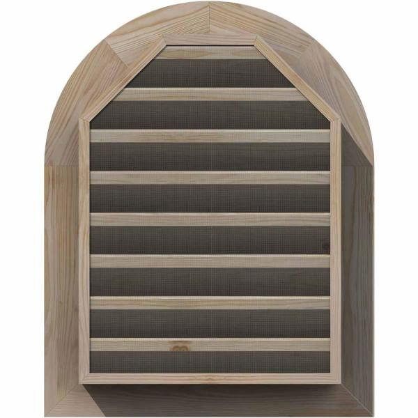 Ekena Millwork 21 In X 33 In Round Top Unfinished Smooth Pine Wood Paintable Gable Louver Vent Gvwrt16x2801sfupi The Home Depot