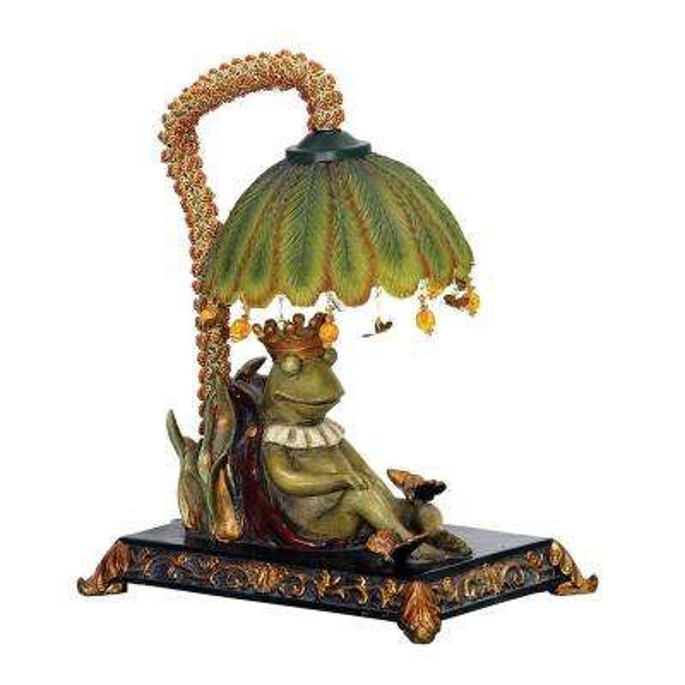 Piquant 12 in. Black Sleeping King Frog Lamp