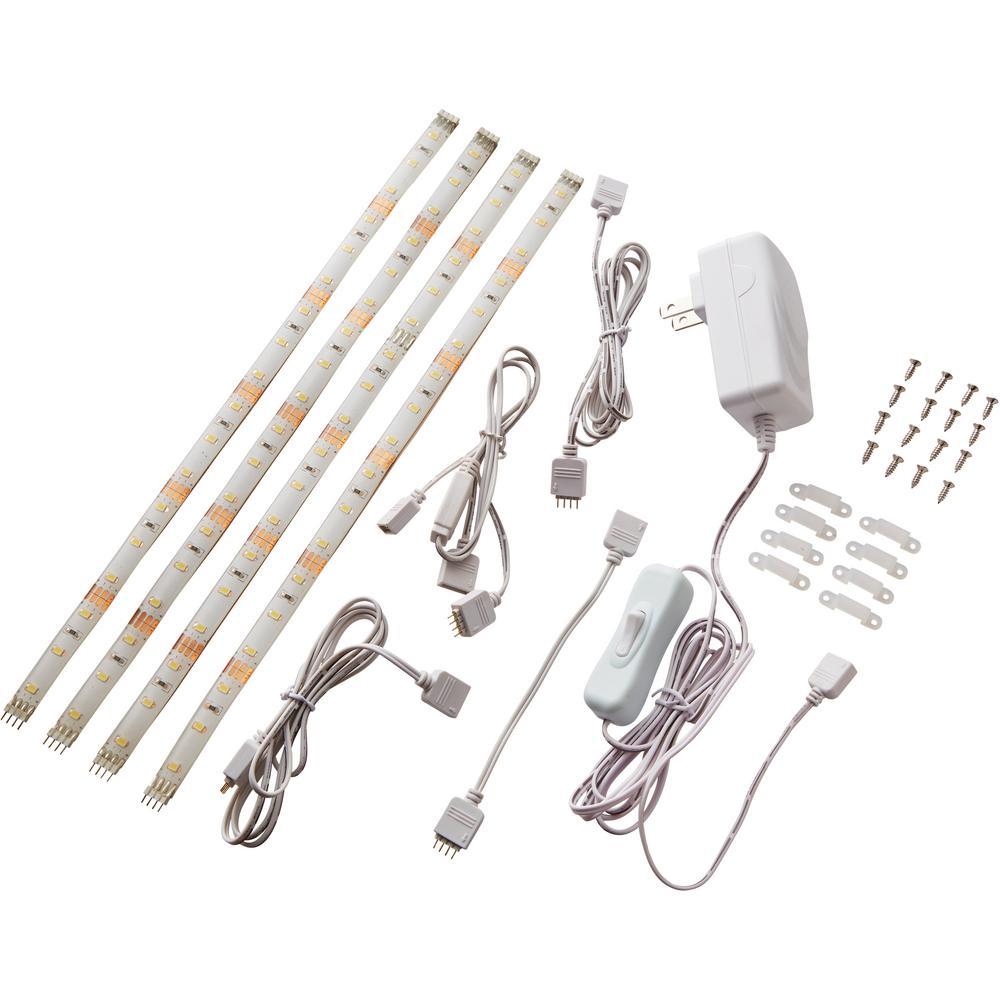 12 in. (30 cm) Linkable Single Color Indoor LED Flexible Tape Light Kit (4 Strip Pack)