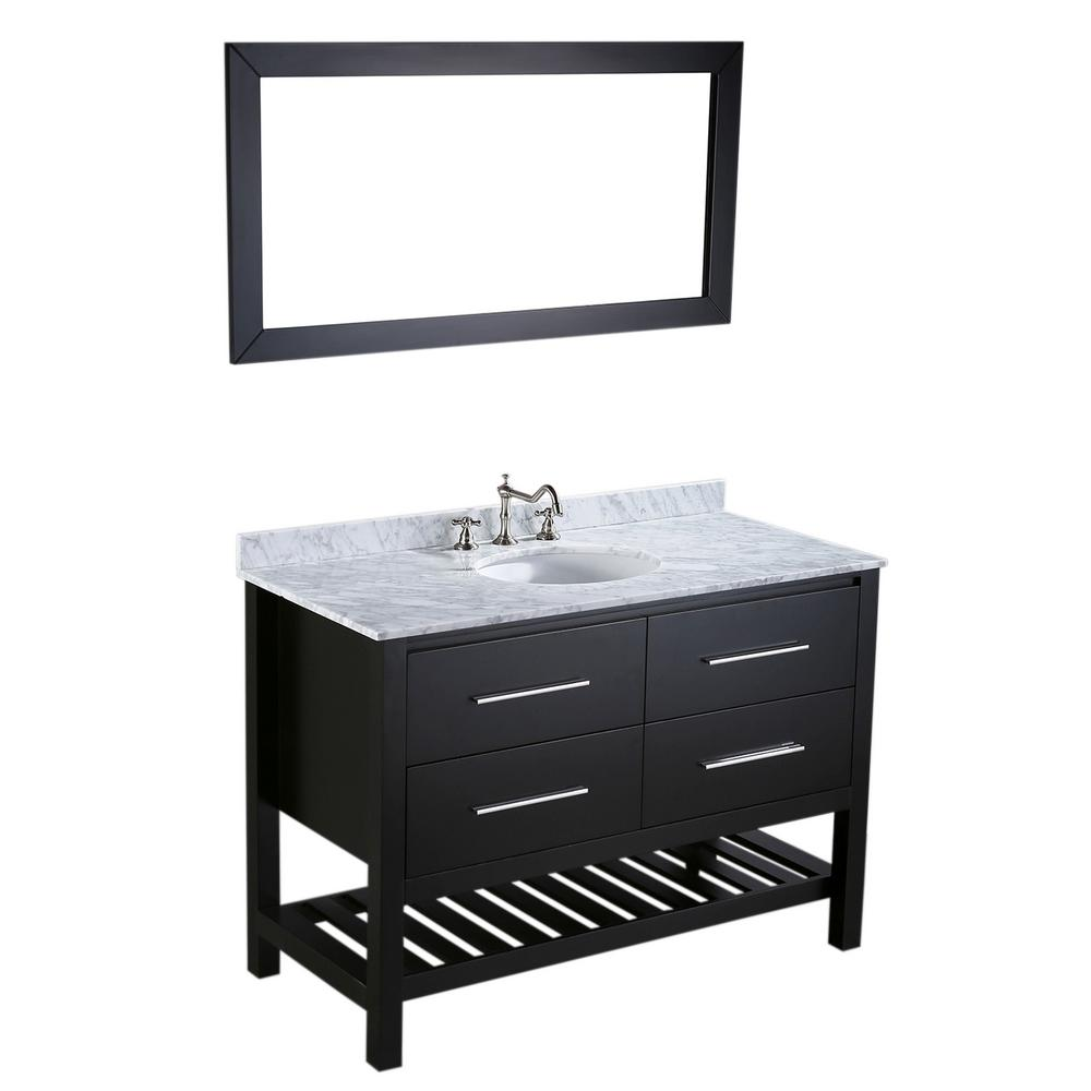 Bosconi Bosconi 47 in. W Single Bath Vanity in Black with White Carrara Marble Vanity Top in White with White Basin and Mirror