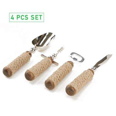 Rope Bar Utensil Set Silver Bottle Opener, Corkscrew, Ice Scoop and Knife 4-Piece Bar Tool Set