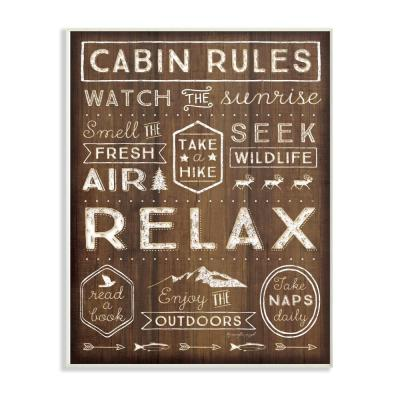 """13 in. x 19 in. """"Outdoors Cabin Rules"""" by Jennifer Pugh Printed Wood Wall Art"""
