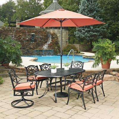 Biscayne Black 9 Piece Cast Aluminum Outdoor Dining Set With C Cushions