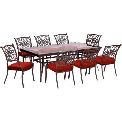 Traditions 9-Piece Aluminum Outdoor Dining Set with Rectangular Glass-Top Table with Red Cushions