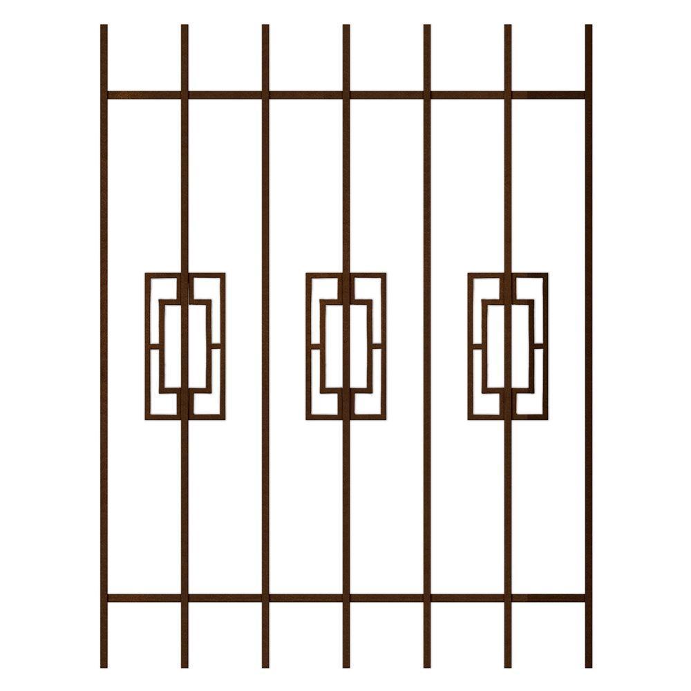 Unique Home Designs Modern Trifecta 36 in. x 48 in. Copper 7-Bar Window Guard-DISCONTINUED