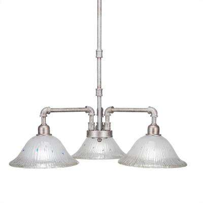 3-Light Aged Silver Chandelier with Frosted Glass Shade