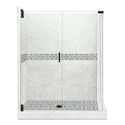 Del Mar Grand Hinged 36 in. x 48 in. x 80 in. Left-Hand Corner Shower Kit in Natural Buff and Black Pipe Hardware