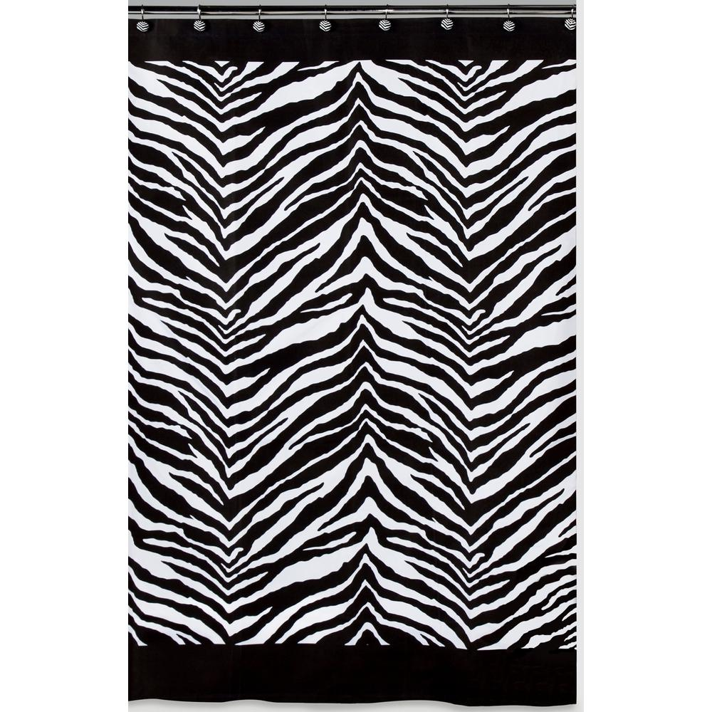 Zebra 72 in. x 72 in. Black and White Animal-Themed Shower