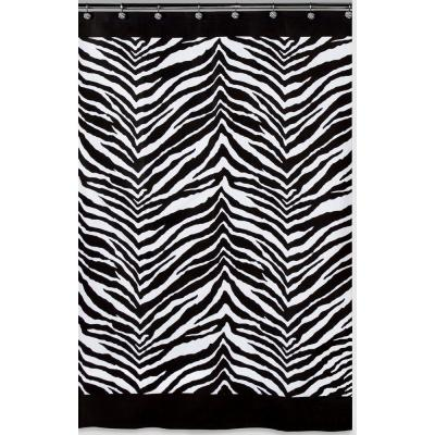 Zebra 72 in. x 72 in. Black and White Animal-Themed Shower Curtain