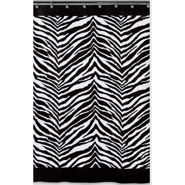 Creative Bath Zebra 72 In X 72 In Black And White Animal Themed