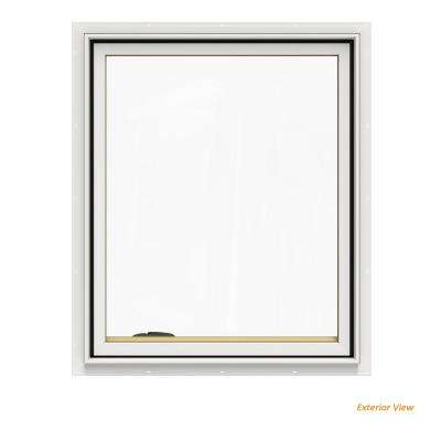 30.75 in. x 36.75 in. W-2500 Series White Painted Clad Wood Left-Handed Casement Window with BetterVue Mesh Screen