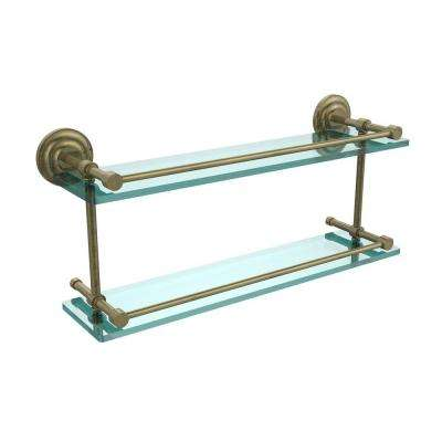 Que New 22 in. L x 8 in. H x 5 in. W 2-Tier Clear Glass Bathroom Shelf with Gallery Rail in Antique Brass