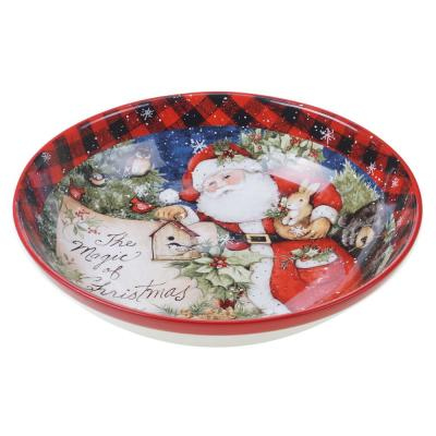 Magic of Christmas Santa 128 oz. Multicolored Earthenware Serving Bowl