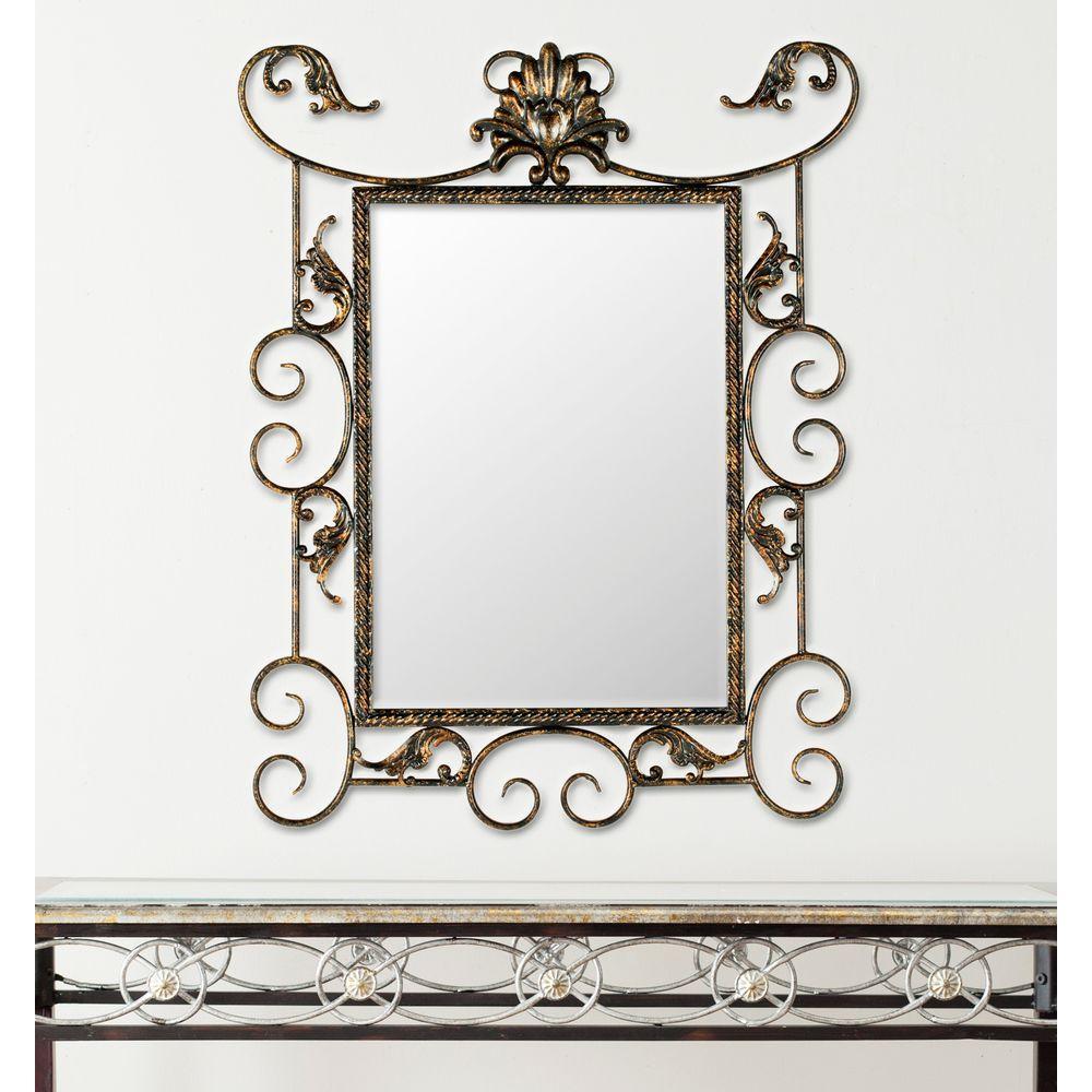 Pamela 29.1 in. x 22 in. Iron Framed Mirror