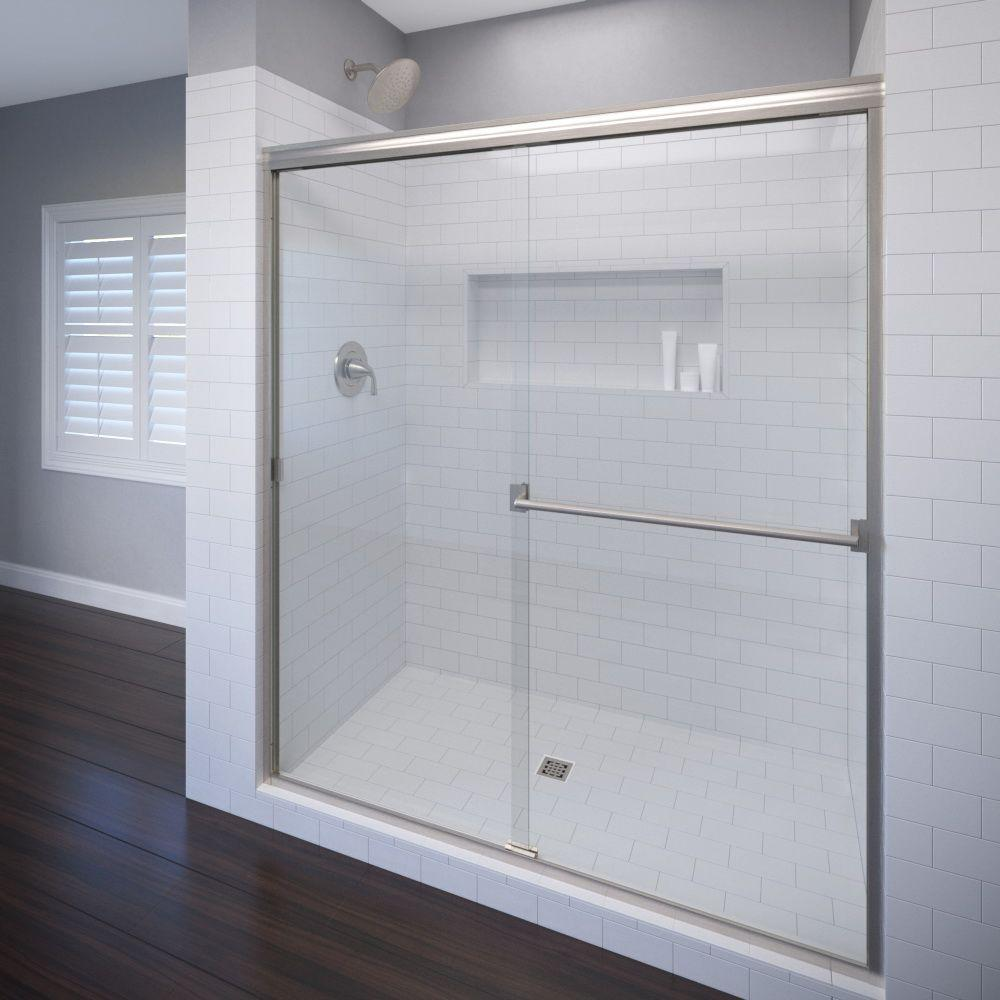 Basco Classic 60 in. x 70 in. Semi-Frameless Sliding Shower Door in Brushed Nickel with Clear Glass