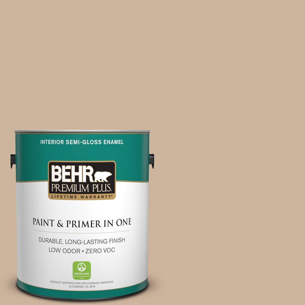 1 gal. #PPU4-07 Mushroom Bisque Zero VOC Semi-Gloss Enamel Interior Paint