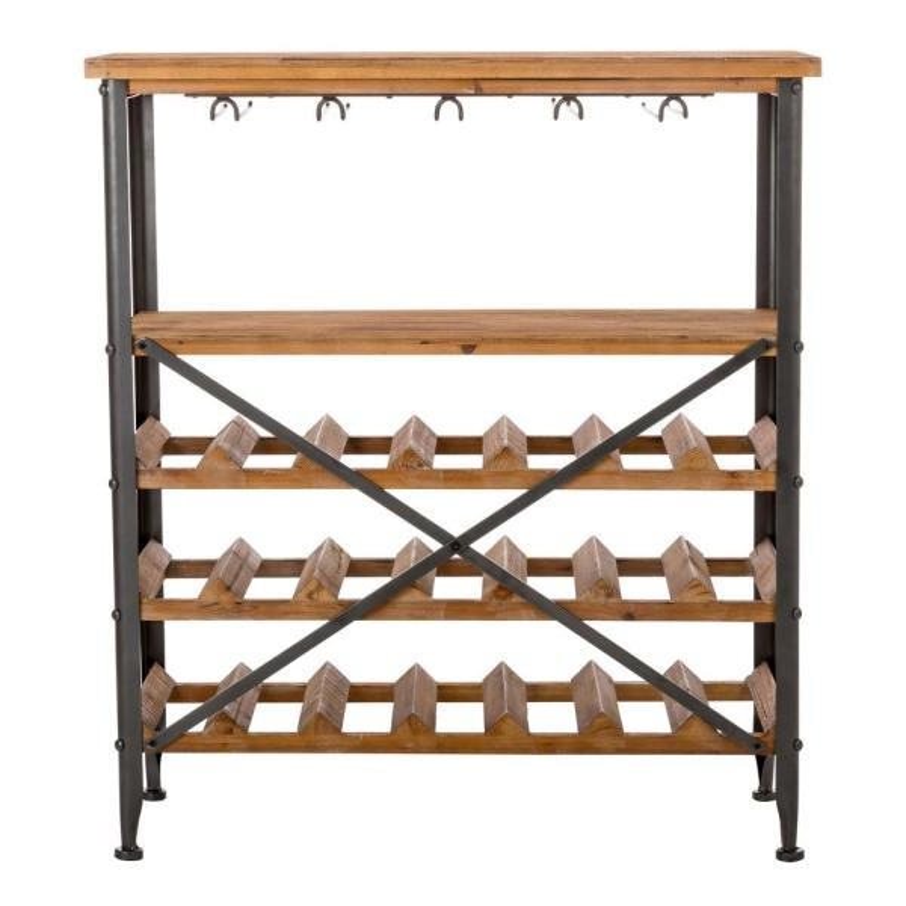 34.25 in. H Vintage Floor Wine Bottle and Glass Rack