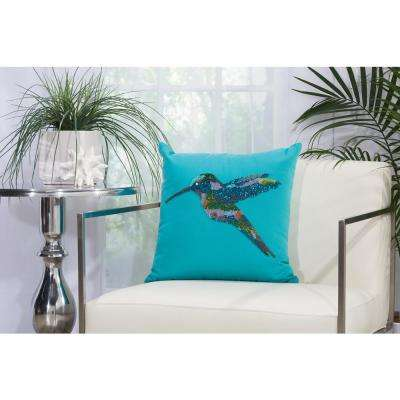 Beaded Hummingbird 18 in. x 18 in. Turquoise Indoor and Outdoor Pillow