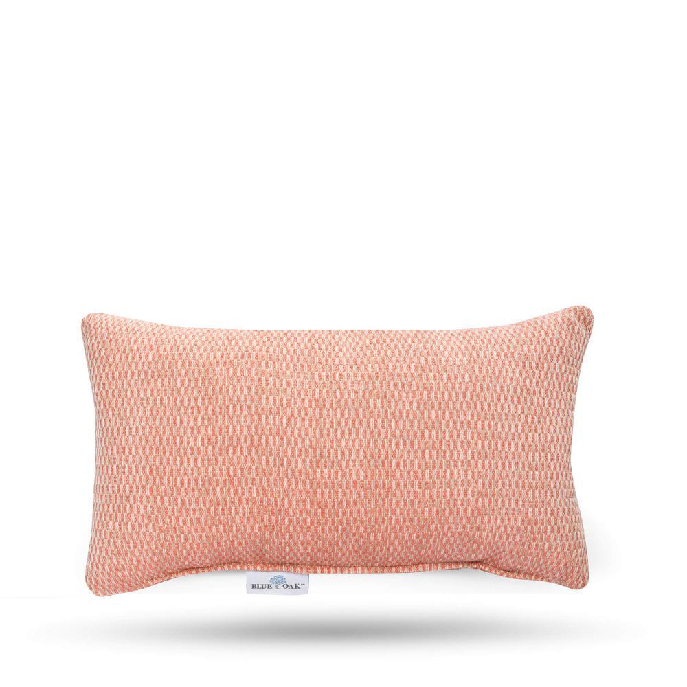 Blue Oak Outdura Blink Coral Rectangular Lumbar Outdoor Throw Pillow