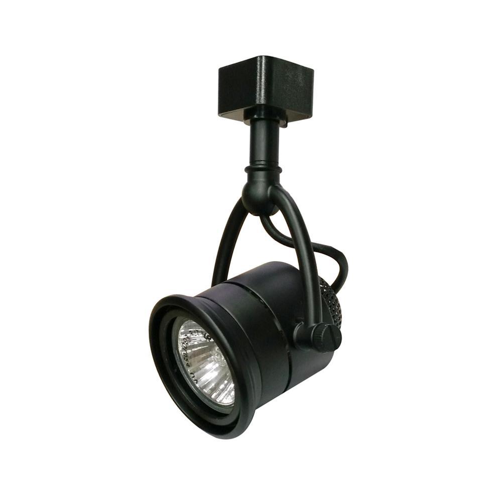 Hampton Bay Retro 1-Light Black Linear Track Lighting Head