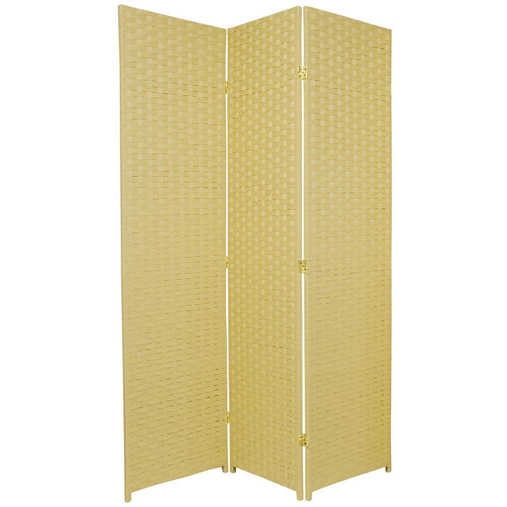 Oriental Furniture 6 ft. Dark Beige 3-Panel Room Divider SSFIBER-3P-DBG