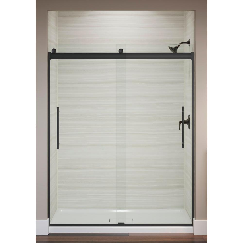 Elmbrook 59.625 in. x 73.4375 in. Frameless Sliding Shower Door in Matte Black