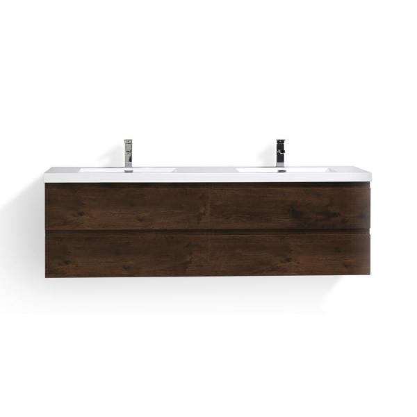 Bohemia 72 in. W Bath Vanity in Rosewood with Reinforced Acrylic Vanity Top in White with White Basins