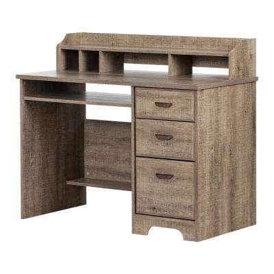 Versa Weathered Oak Computer Desk With Hutch