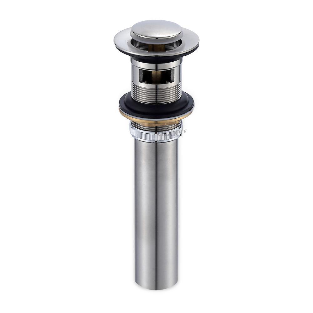 1-1/2 in. Bathroom Faucet Vessel Vanity Sink Pop Up Drain Stopper with Overflow in Brushed Nickel