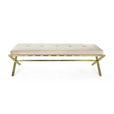 Vincenzi Glam Tufted Champagne Velvet Cushioned Bench with Gold Chrome Iron Cross Legs