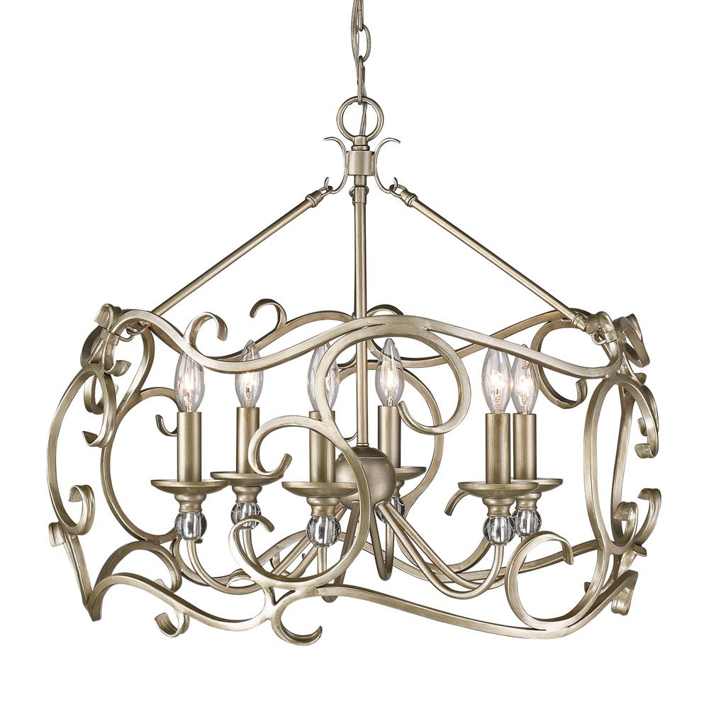 Colette 6-Light White Gold Chandelier