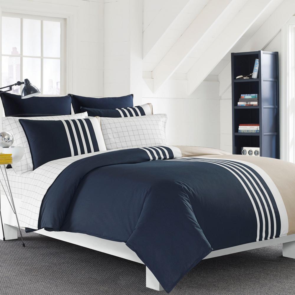 Aport Navy Cotton 3-Piece Comforter Set
