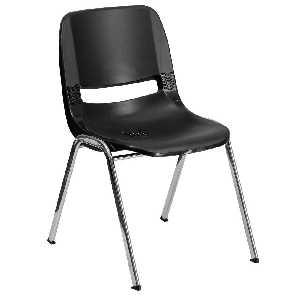 Flash Furniture Hercules Series 440 Lb. Capacity Black Ergonomic Shell  Stack Chair With Chrome Frame
