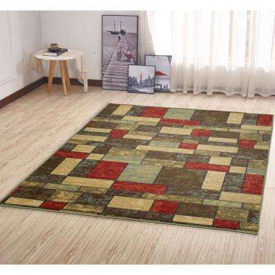 Ottohome Collection Contemporary Boxes Design Multi 5 ft. x 7 ft. Area Rug