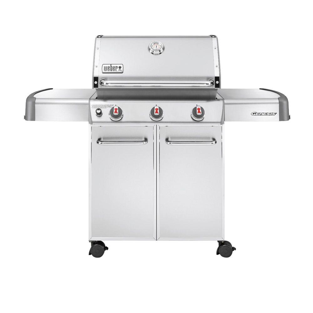 weber genesis s 310 3 burner propane gas grill in stainless steel 6550001 the home depot. Black Bedroom Furniture Sets. Home Design Ideas