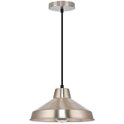 1-Light Brushed Nickel Warehouse Pendant with Metal Shade