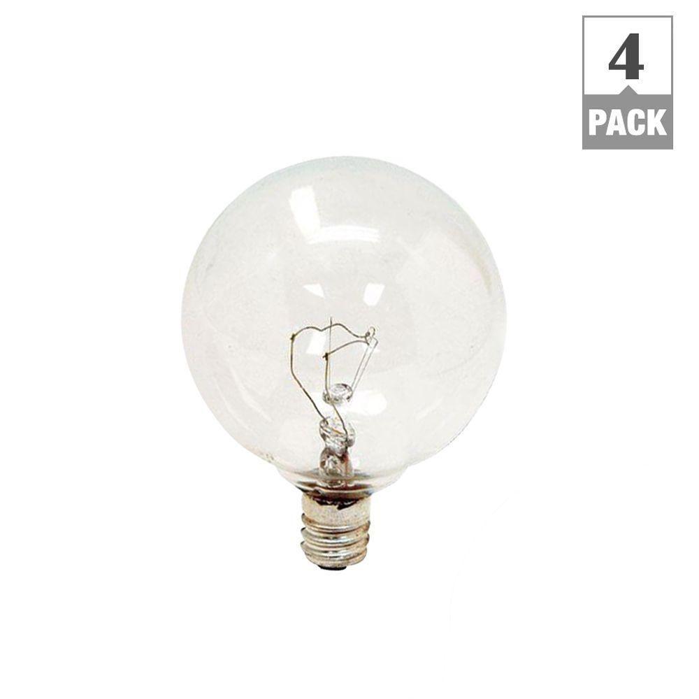 25-Watt Incandescent G16.5 Globe Candelabra Base Clear Light Bulb (4-Pack)