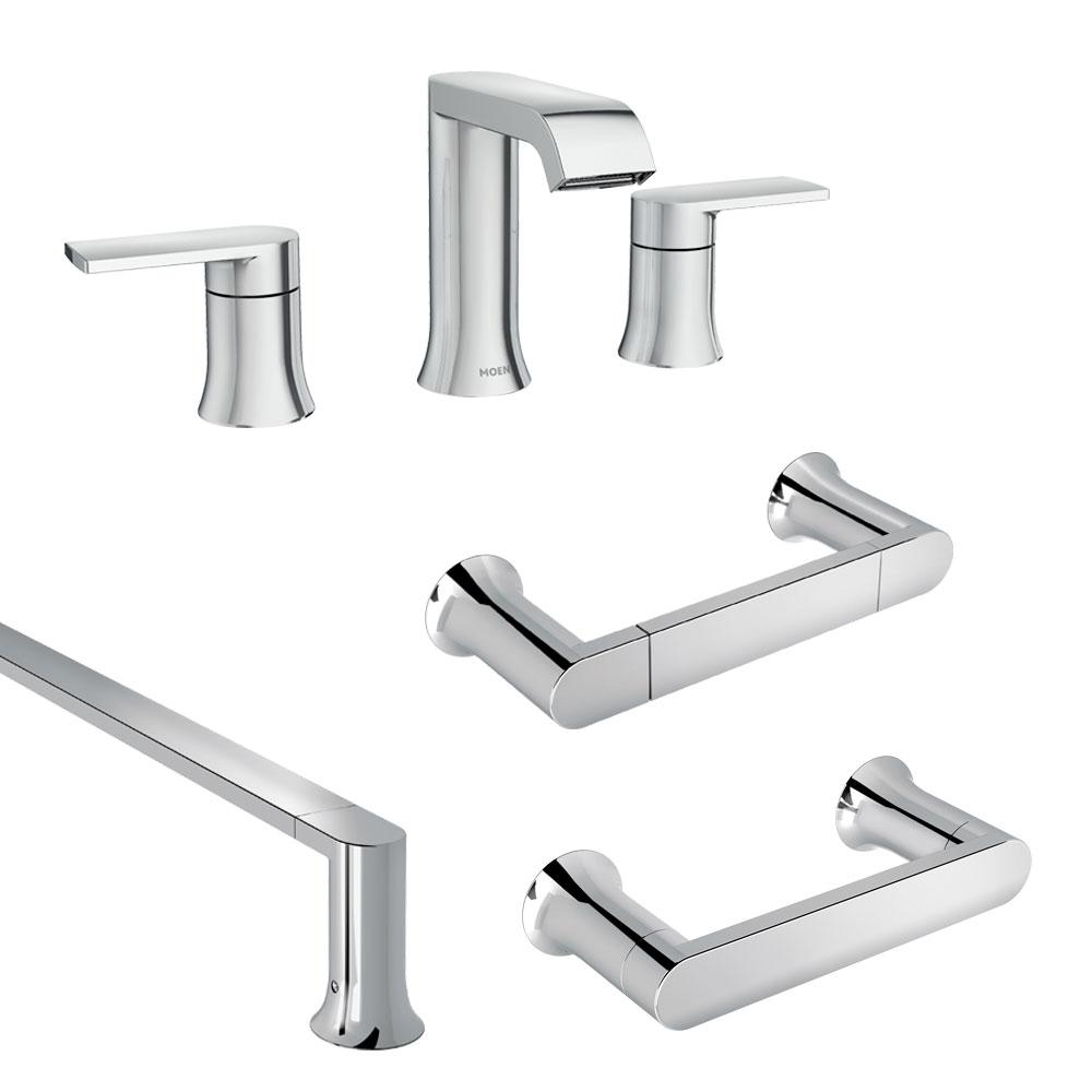 Moen Genta 8 In Widespread 2 Handle Bath Faucet With 3 Piece Hardware Set In Chrome 18 In Towel Bar 84763 8w3pc18 The Home Depot
