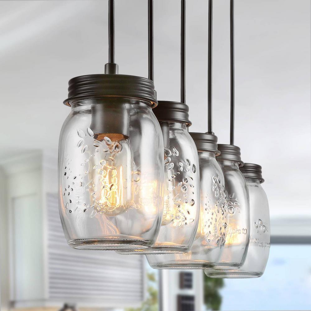 Zook 5-Light DIY Chandelier Light Dark Oil-Rubbed Bronze Modern Farmhouse Wood Chandelier Mason Jar Pendant Light